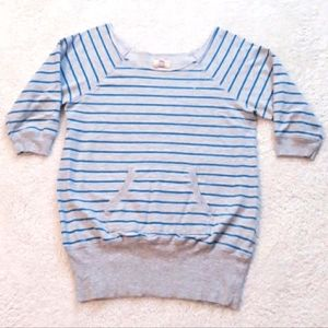 Lei Grey Striped Wide Stretch Neck Sweatershirt